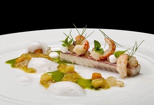 Smoked Eal, Crayfish and Joselito Lardo with Pea Soup
