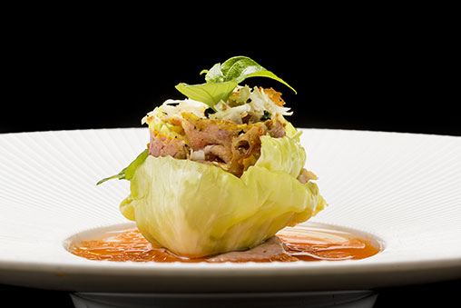 Preserved Savoy Cabbage, Joselito Ham, Carrot and Magnolia