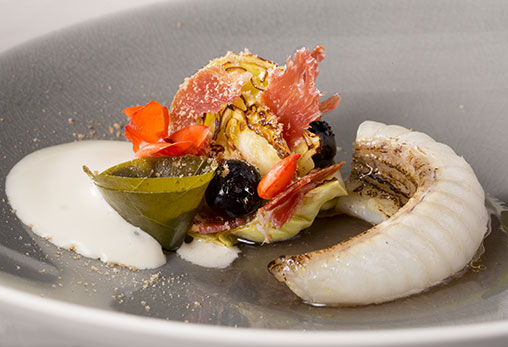 Monkfish with Joselito Lomo, cabbage and pine kernels