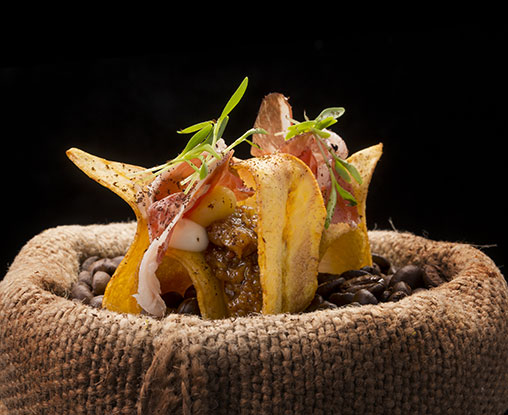 Banana Crisps with Joselito Ham, Coffee and Aubergine