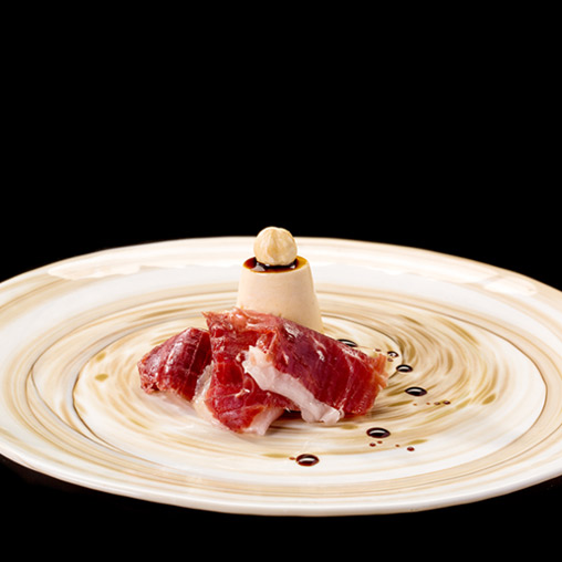 Joselito cured ham with hazelnut semifreddo and balsamic vinegar